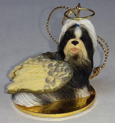 "EUC Shih Tzu Black White Dog ANGEL Tiny One Ornament Figurine Statue 2"""