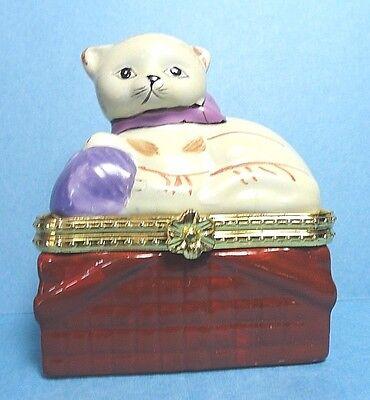 Porcelain  Cat On A Basket Hinged Trinket Box  #3