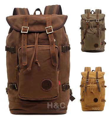 Canvas Leather Backpacks ( Travel Canvas with Leather Backpack Outdoor Sports Camping Hiking School Bag )