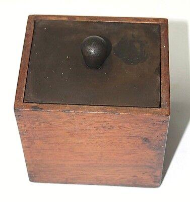 Tea caddy Vintage Wood Bakelite lid 4.5x4.5x4