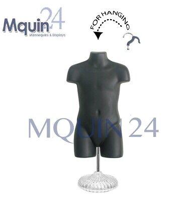 Child Torso Mannequin - Black With Stand - Kids Plastic Dress Form