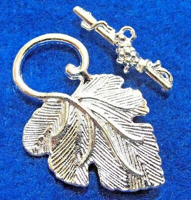 5Sets Silver-Plated Beautiful LEAF Toggle Clasps Hooks Tibetan Findings C278