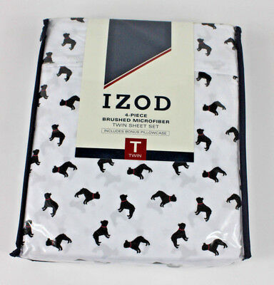 Izod French Bulldog Boston Terrier Pug Dog  4 Piece Twin Black White Sheets