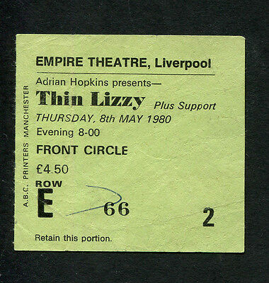 1980 Thin Lizzy The Lookalikes concert ticket stub Liverpool UK Black Rose Tour
