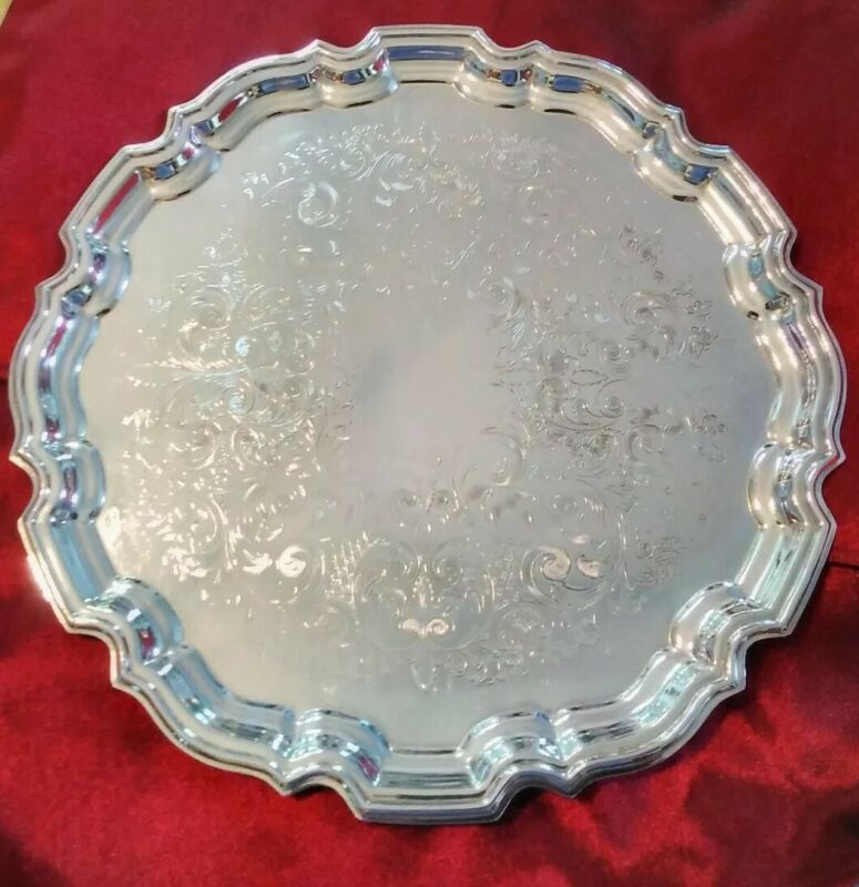 """Large 14.5"""" Frank Hawker England Crafton Round Silverplate Tray w Stepped Edges"""
