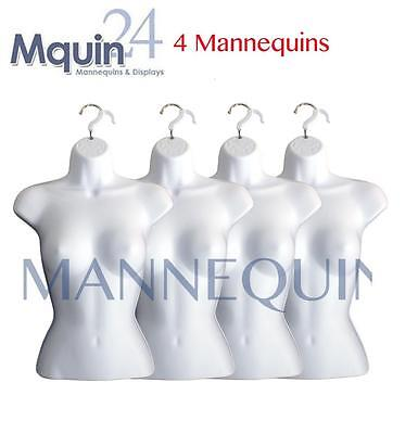 4 Mannequin Female Torsos - 4 White Plastic Womens Hanging Dress Form Displays