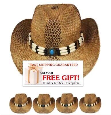 Shapeable Straw - BEST SELLER NEW COWBOY Western HAT Shapeable STRAW Cowgirl Rodeo Cap MEN WOMEN