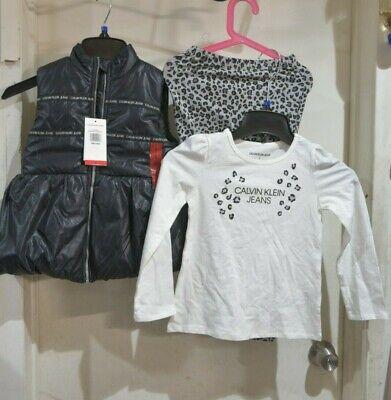 Calvin Klein Jeans Girls Shirt Puffer Vest Pants 3pc Set, Size 6
