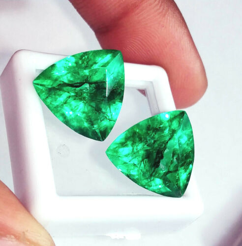 Natural Emeralds 7 to 9 Cts 2 Pcs. Certified Loose Gemstones ~~ RK300