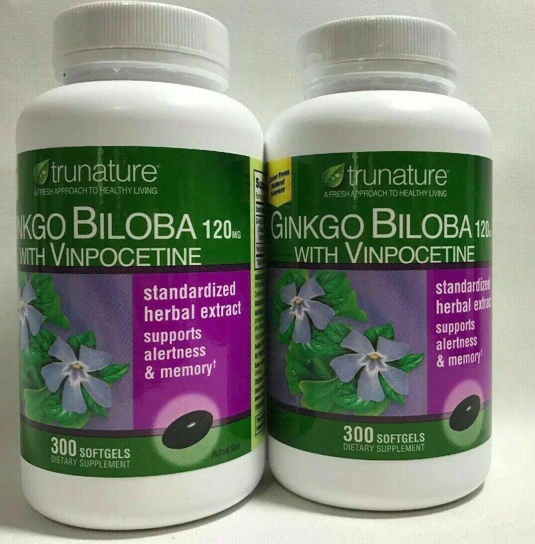 2 Bottles / Trunature Ginko Biloba Dietary Supplement 300 Softgels