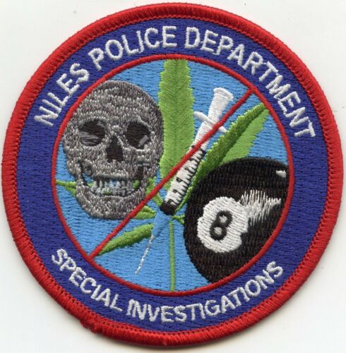 NILES Marijuana 8 Ball NARCOTICS DRUG UNIT SPECIAL INVESTIGATIONS POLICE PATCH