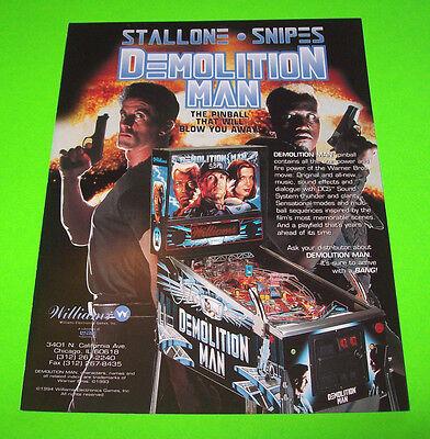 Williams DEMOLITION MAN 1994 Original NOS Flipper Pinball Machine Flyer Brochure