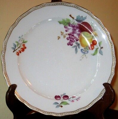 19thc outside painted Meissen plate with fruit and floral decoration A/F