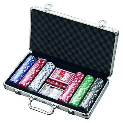 300 Chip Dice Style Poker Set In Aluminum Case 11.5 Gr, 2 decks of cards, 5 dice