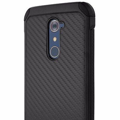 For ZTE ZMAX PRO Z981 - Hybrid Armor Impact Skin Case Cover Black Carbon Fiber Black Impact Skin Case