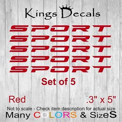 5 Piece Set SPORT Decal Sticker Wheels Rims Racing Sport car Emblem logo Red