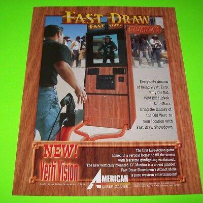 FAST DRAW SHOWDOWN Arcade FLYER Original NOS Video Game AMERICAN LASER 1994