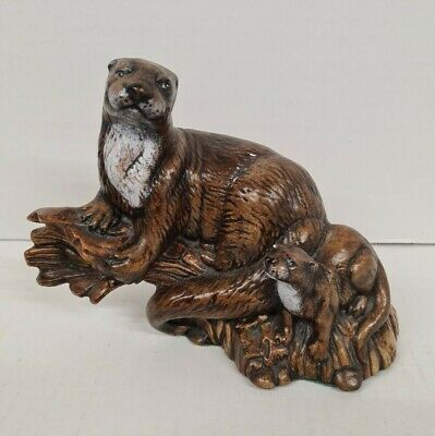Vintage Wooden Wood Otters Ornament Sculpture