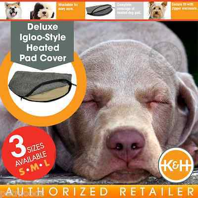 K&H Deluxe Igloo-Style Heated Gray Pad Dog Cover SM KH1035 MD KH1045