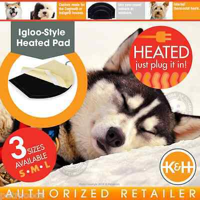 K&H Igloo Style Solid Heated Pad & Cover Outdoor Indoor Warming Dog Bed Heater