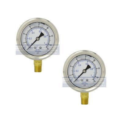2 Pack Liquid Filled Pressure Gauge 0-15 Psi 2.5 Face 14 Lower Mount Wog