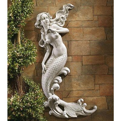 Sea Mermaid Mythical Creature Nautical Decor Wall Statue Hanging Art Sculpture