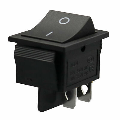 2x Black Rocker Switches 4-Pin DPST On/Off Snap-In 15A/250V 20A/125V AC