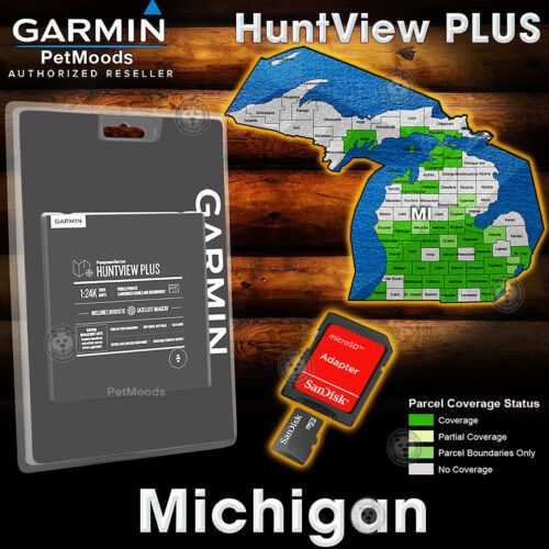 Garmin HuntView PLUS MICHIGAN Map - MicroSD Birdseye Satellite Imagery 24K Hunt