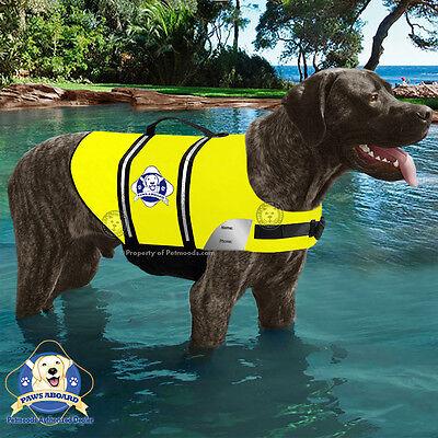 Paws Aboard Dog Life Jacket Yellow Neon Swim Safety Vest ...