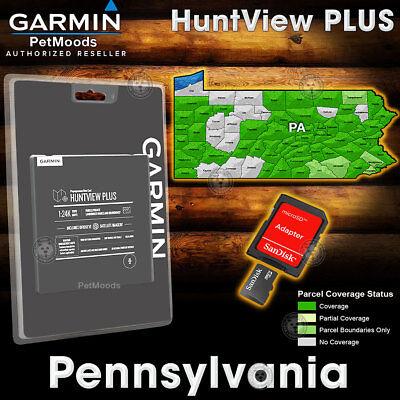 Garmin HuntView PLUS Map PENNSYLVANIA - MicroSD Birdseye Satellite Imagery 24K