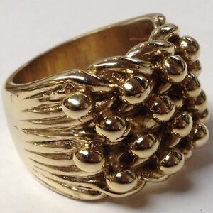 BIG CHUNKY SOLID KEEPER RING TOP QUALITY 9CT GOLD ON JEWELLERS BRONZE SIZE Z+1