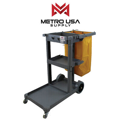 Commercial Janitorial Cleaning Cart Rolling Janitor Uitility Cart3 Shelvesviny