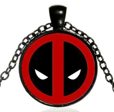 Deadpool Logo Symbol Glass Domed Pendant NECKLACE