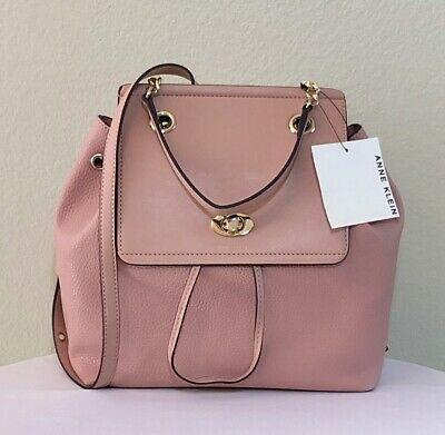 NEW ANNE KLEIN Backpack Pink Purse Pebble Pattern Chain Toggle Handbag NWT