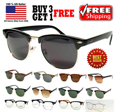 HORN RIMMED DESIGNER STYLE METAL ACCENT HALF FRAME SUNGLASSES CLEAR GLASSES