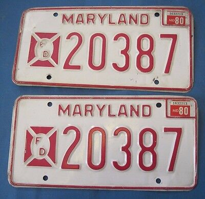 1980 Maryland License Plates Matched Pair Fire Department