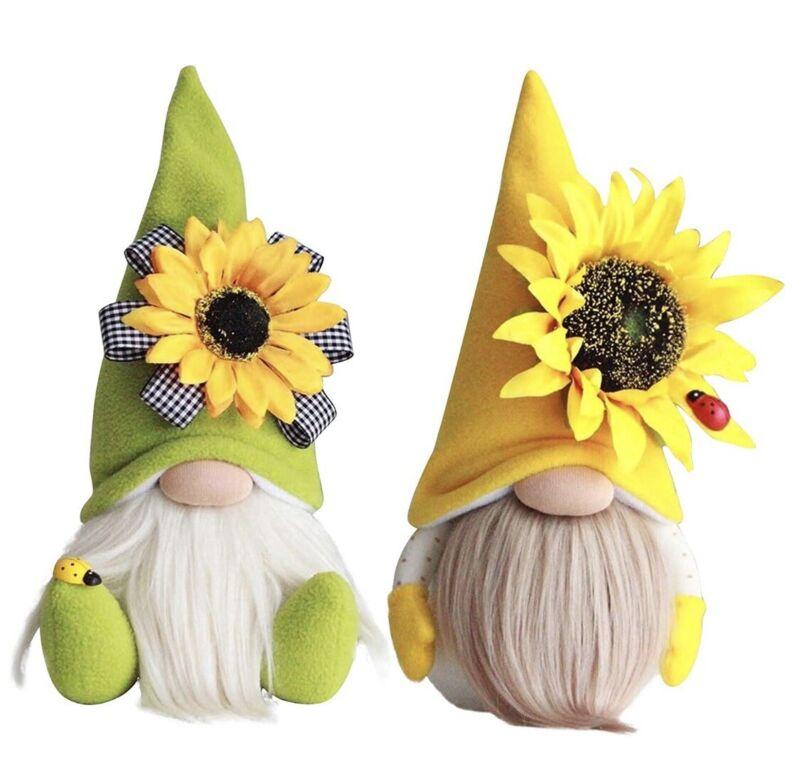 2 PCs Lady Bug Spring Gnome Plush Cute Sunflower Decorations Summer Honey Bee