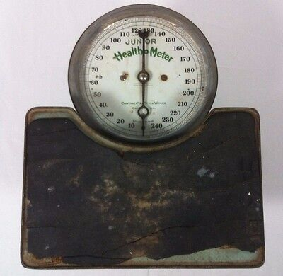 Health-O-Meter Junior Scale to 250 Lbs Original Green Paint Antique 1921 Vtg USA
