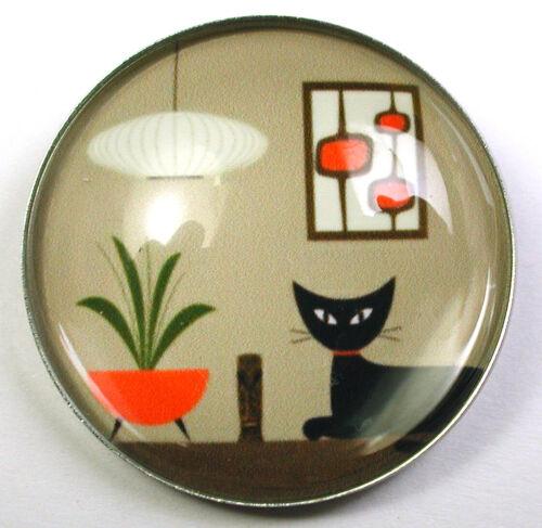 Mid Century Modern Glass Dome Button Black Cat wPlant & Art 1 & 3/8 DM 4