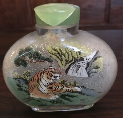 CHINESE Reverse Painting 'YEAR OF THE TIGER' SNUFF BOTTLE Vtg.