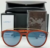 2b535bf4ea7c NEW PERSOL sunglasses PO3159S 904656 55mm Tortoise Blue 3159 Big Round  AUTHENTIC