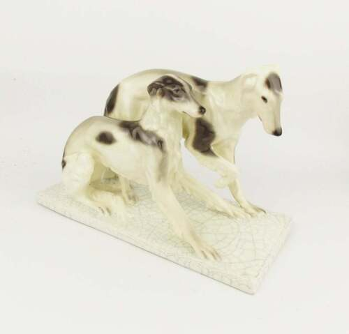 Vintage 1920s Goldscheider Porcelain Figurine of 2 Hounds Borzoi Art Deco