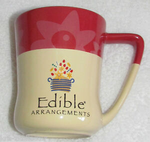 NEW! EDIBLE ARRANGEMENTS DAISY FLOWERS MAROON/IVORY LARGE CERAMIC COFFEE MUG