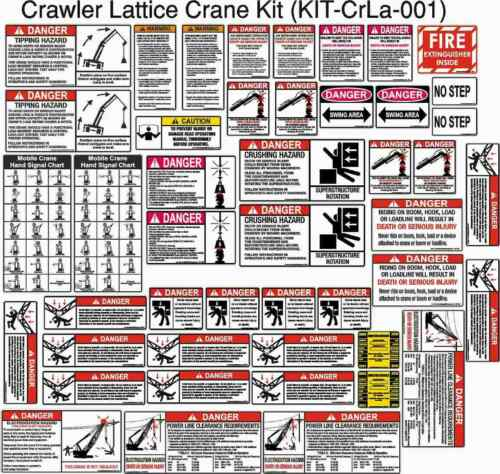 Crawler Lattice Crane Safety Sticker Kit