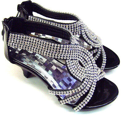 Dress Party Pageant Shoes (Kid's Girl's Party Pageant Sandals Dress Shoes Rhinestones  Low Heel )
