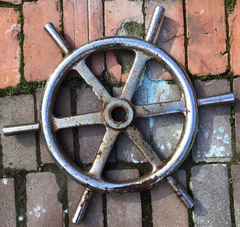Antique Chromed Ships Wheel Chesapeake Bay Mathews Virginia 23 Inches Wide
