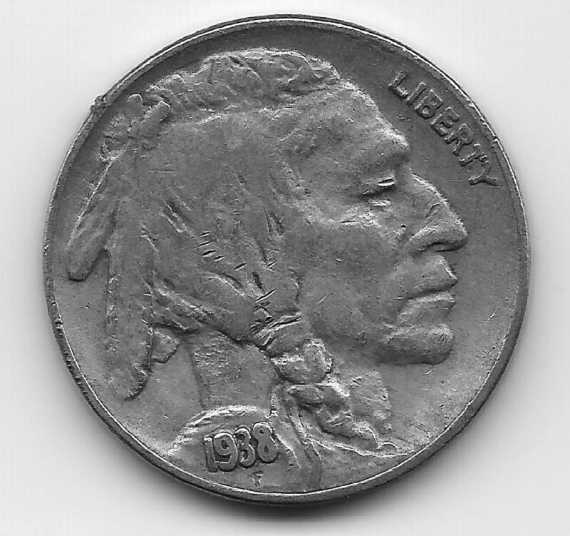 VERY FINE VF BETTER DATE 1938 D (DATE DOUBLING) BUFFALO NICKEL COIN-AGT944