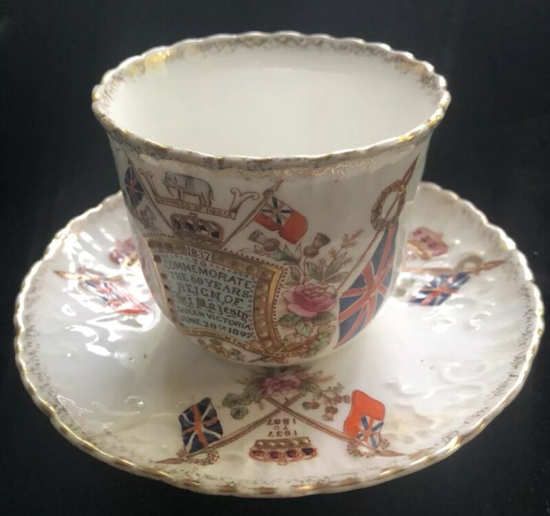 Antique China Cup & Saucer Queen Victoria Diamond Jubilee 1897