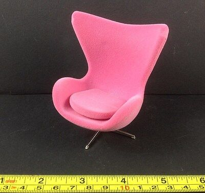 Dollhouse Miniature Furniture Modern Design Rose Pink Velvet Cozy Chair 1:12