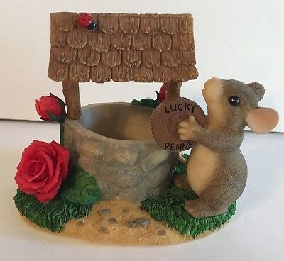 Charming Tails Wishing you Well Christmas Lucky Penny Figurine Mouse Fitz Floyd